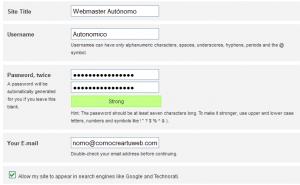 Datos del administrador del WordPress
