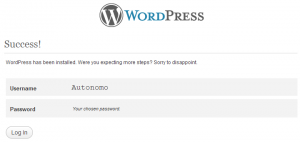 Primer Login en el WordPress