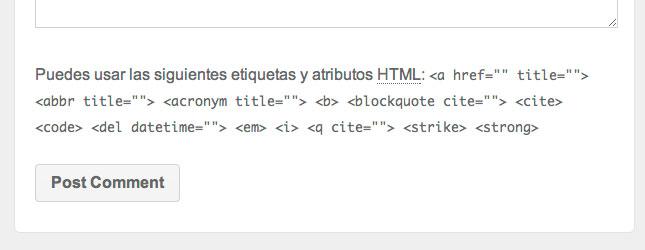 Este es el mensaje de WordPress que queremos eliminar.