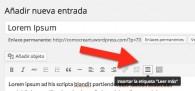 Inserta Leer Más desde la barra de herramientas de Wordpress