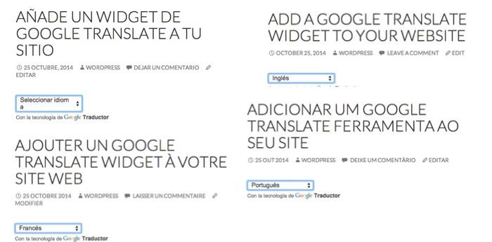 Mira los resultados en varios idiomas